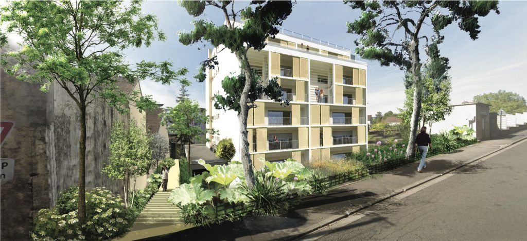 Proposition de l'étude urbaine : un bâtiment intégré dans le paysage du parc Faucigny Lucinge, des étages inférieurs remis en lumière